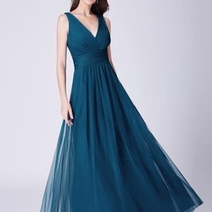 Teal A Line V Neck Long Tulle With Pleated Bodice